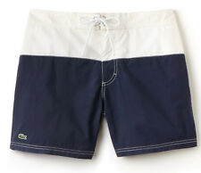 NWT Lacoste Mens Colorblock Taffeta Board Shorts MH7093, White/Navy, Size M