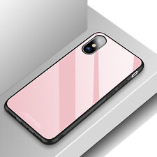 Tempered Glass Mirror Back Hard Case Rubber Bumper Cover for iPhone X XR XS Max