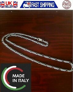"""CHAIN MADE IN ITALY 925 STERLING SILVER NEW NECKLACE FIGARO 16""""-24"""""""