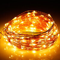 Warm White 10M 100LED Copper Wire String X'mas Party Decoration Fairy Light