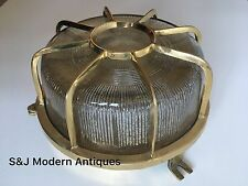 Industrial Bulkhead Wall Ceiling Light Vintage Antique Retro Ship Lamp Brass Old