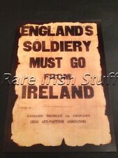 Englands Soldiery Must Go From Ireland - Old Irish Republican Burnt Army Poster