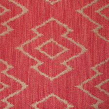 ANDREW MARTIN Sanchez Chevron Red Woven Natural Italy Remnant New