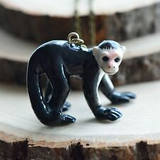 Hand Painted Porcelain Capuchin Monkey Necklace Antique Bronze Chain Ceramic