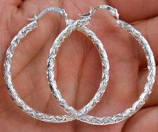 Wholesale Women 925 Sterling Silver Plated Carving Hoop Dangle Earring Jewelry W