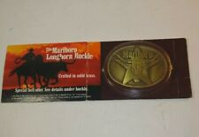 Vintage 1987 Marlboro Tobacco Co Solid Brass Belt Buckle Longhorn New Sealed