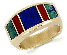 Women's Navajo Museum Quality Natural Lapis, Coral Malachite Ring 14k Solid Gold