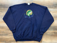 VINTAGE Fishing Outdoor Theme Crew Neck Sweater Made In USA Mens 3XL