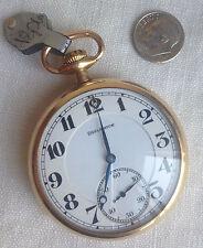 Burlington Watch Co. Pocket Watch 14K Gold Filled Strata Case 21j, 3766122
