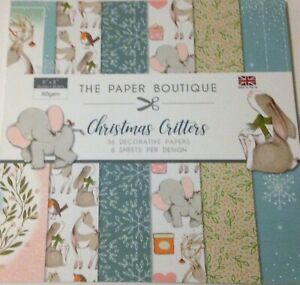 """Christmas Critters from The Paper Boutique Paper Pad 36 sheets 6 designs 8"""" x 8"""""""