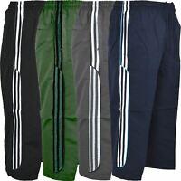 New Mens Summer 3/4 Elasticated Waist Striped Jogging Long Shorts Zip Pockets