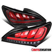 For 2010-2016 Hyundai Genesis 2Dr Coupe Black Tail Lights+Sequential LED Signal