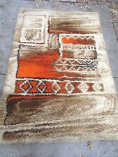 "Mid-Century Modern Norsk Rya Rug [6.5""x4.5""] Wool Shag Abstract Red Ivory Brown"