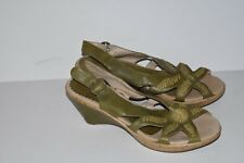 Pikolinos Wedge Sandals 40 Green Leather Buckle Shoes Strappy EUC