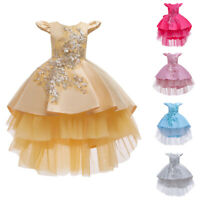 Kids High Low Dress Party Flower Girls Wedding Princess Tulle Birthday Ball Gown