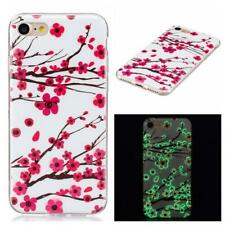 Glow In The Dark Gel Cover for Apple iPhone 8 Plus 7 Plus Case Pink Flowers