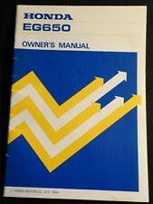 PRINTED 1984 HONDA PORTABLE GENERATOR EG650 OWNERS MANUAL (841)