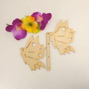 2 Stck. Schmetterlinge 2 Löcher Holz 13,5cm Kinderzimmerdeko Basteln Fensterbild