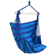 2Pcs Outdoor Blue Striped Hanging Hammock Rope Swing Seat Chair Porch Camping
