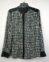 Dana Buchman Womens Black Houndstooth Print Long Sleeve Button Down Shirt XL