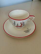 CROWN DEVON FIELDINGS STOCKHOLM Coffee cups & saucers, 2 available Reindeer.