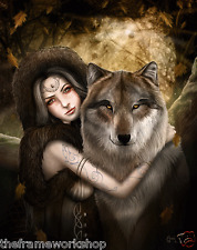 CLARE BERTRAM UNTAMED WOLF - 3D CULT FANTASY PICTURE POSTER 300mm x 400mm