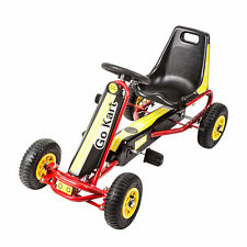 Go Kart Kids Ride On Car Pedal Powered Car 4 Wheel Racer Toy w/ Brake Yellow