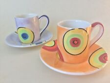 Whittard of Chelsea Handpainted Espresso Cup & Saucer x2