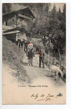 SUISSE SWITZERLAND Canton du VALAIS VAL D'ILLIEZ foulards rouges 2 paysannes