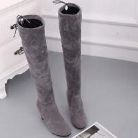 Women Over Knee Boots High Heel Boot Heels Winter Autumn Slip On Shoes Plus Size