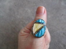 vintage Mexican Biker turquoise MOP abstract sterling Ring 9