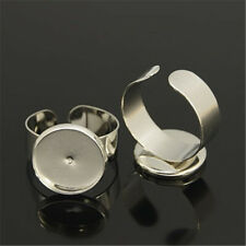 50 pcs Cuff Brass Ring Shanks, Pad Ring Bases For Vintage 18mm Rings Making 14mm