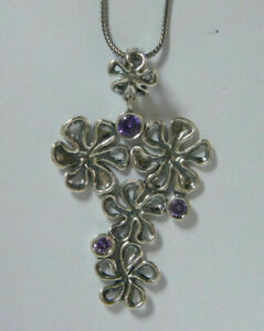 Female Necklace Pendant Purple Amethyst cz faceted Cut round Shape