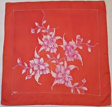 "VINTAGE AUTHENTIC HAND PAINTED SIGNED ORCHIDE ORANGE PINK SILK 36"" SQUARE SCARF"