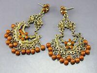 ANTIQUE GOLD TONE Vintage DANGLE EARRINGS Amber Rhinestones BROWN BEAD ETRUSCAN