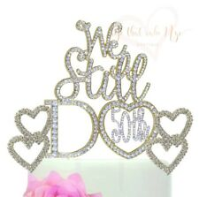 50th Anniversary Wedding Cake Topper with 2 double rhinestone gold hearts