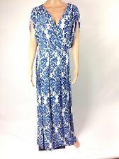 Koh Koh C6 Women's Maxi Dress Sz M Blue White Geometric Long Stretch Kimono New