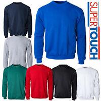 Mens Plain Poly Cotton Work Sweatshirt Causal Crew Neck Long Sleeve Top Jumper