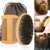 Beard Brush Mustache Comb Boar Bristle Hair Wood Set Men Facial Grooming Tool