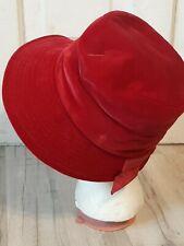 New listing Vintage Gage Original Red Velvet Hat 30s-70s? Art Deco ~ Hippy