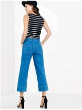 EXPRESS 6 HIGH RISE LIGHT WASH DENIM CULOTTES gauchos cropped crop small jeans