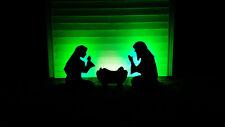 Black Outdoor Nativity scene ligted LED Yard Christmas Manger Set Holy Family