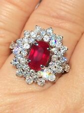 18K GOLD 6.12 CT. GIA CERTIFIED NO 1 HEAT VIVID PURE RED RUBY DIAMOND RING!!