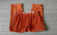 Orvis Pants Corduroy Leather Trim Pockets Burnt Orange 38x33