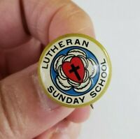Vintage Lutheran Sunday School Tin Pinback Button Pin Concordia