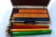 Vintage MAH-JONGG Full Set:5 Catalan Racks w/Brass Holders.152 3Color Tiles 1940