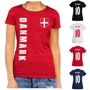 Dänemark Danmark WM 2022 Damen T-Shirt Trikot Name Nummer Fussball Team Nationa