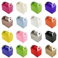10 Plain Coloured Party Boxes Bags Children Kids Food Meal Lunch Gifts Birthday