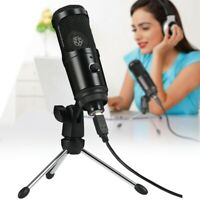 USB Microphone Wired Condenser Mic Studio with/ Stand Clip for PC Laptop Gaming
