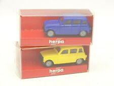 Herpa HO 1/87 - Lot de 2 Renault 4L Jaune et Bleue